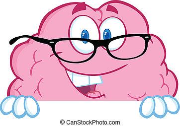 cervello, sopra, occhiali, segno