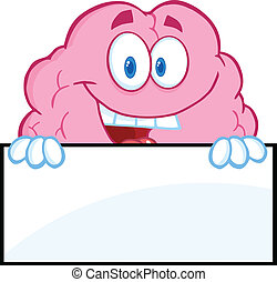 cervello, sopra, vuoto, sorridente, segno