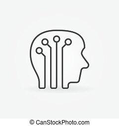 cervello, testa, icona, umano, digitale