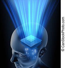 cervello, testa, processore