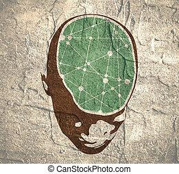 cervello, testa, umano, illustrazione
