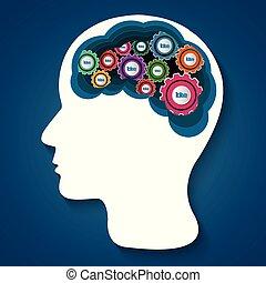 cervello, umano, scintilla, testa, idea, business., ingranaggio blu, vettore, creativo, isolato, successo, illustrazione, icon., fondo.
