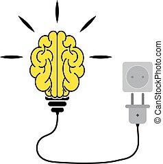 cervello, vettore, illustration., umano