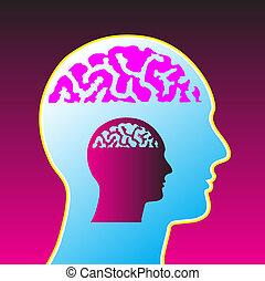 cervello, vettore, illustrazione, uomo