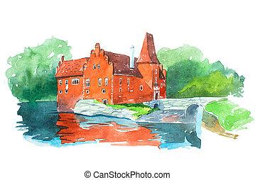 cervena, viaje, ilustración, famoso, waercolor, castillo,...
