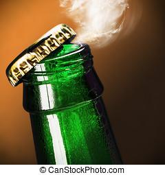 cerveza, abierto, botella