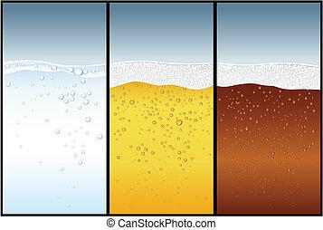 cerveza, agua, cola