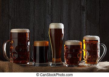 cerveza, anteojos