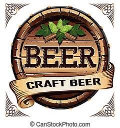 cerveza, arte, etiqueta