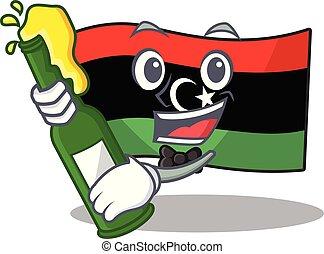 cerveza, bandera, clings, pared, libia, mascota