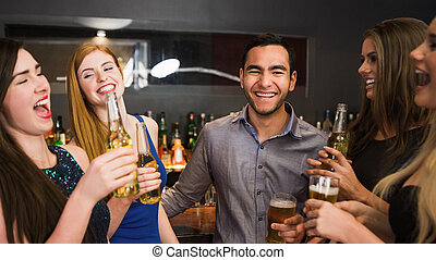 cerveza, bebida, charlar, amigos