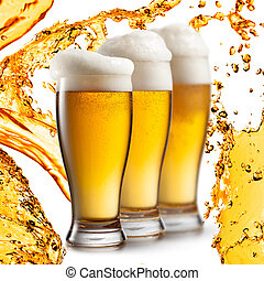 cerveza, blanco, aislado, plano de fondo, anteojos