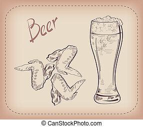 cerveza, bocado, pinta