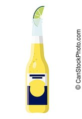 Cerveza Bottle Beer with Lime Wedge - Beer bottle with a...