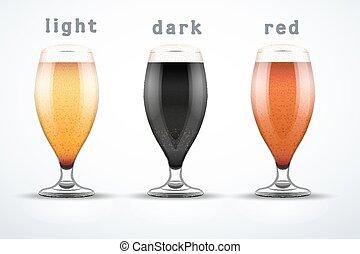 cerveza, brands., jarras, tres