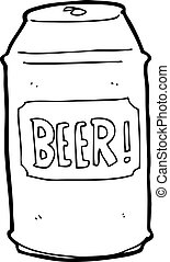 cerveza, caricatura, lata
