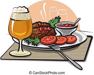 cerveza, chuletas, y, salsa