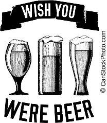 cerveza, cita, mano, dibujado, vector, imagen, con, cita,...
