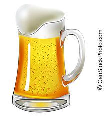 cerveza, con, vejiga, en, jarra vidrio, blanco