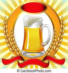 cerveza, con, vejiga, oreja, y, cinta