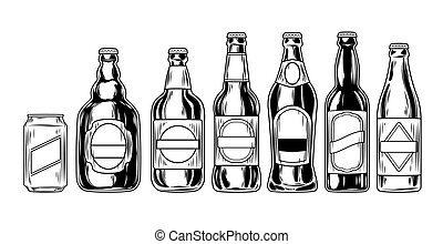 cerveza, Conjunto, botellas, iconos