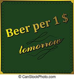 cerveza, dólar, plano de fondo, por