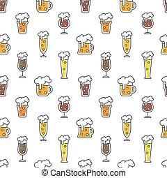 cerveza, diseño, seamless, patrón, colorido, tipos