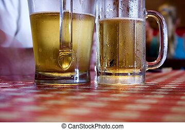 cerveza, dos, anteojos