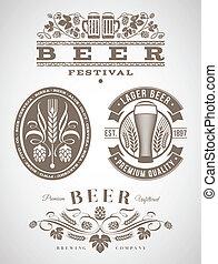 cerveza, emblemas, y, etiquetas