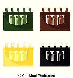 cerveza, en, cajón, vector, ilustración