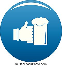 cerveza, en, mano, icono, azul, vector