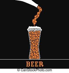 cerveza, en, vidrio, color, vector
