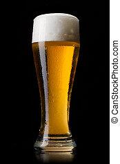 cerveza, en, vidrio, en, un, negro