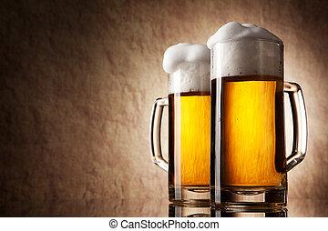 cerveza, en, vidrio, en, un, viejo, piedra