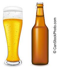 cerveza, en, vidrio, y, botella, vector, enfermo