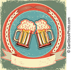 cerveza, etiqueta, conjunto, en, viejo, papel,...