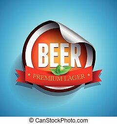 cerveza, etiqueta, o, pegatina, -, cervezadorada