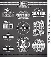 cerveza, etiquetas, conjunto
