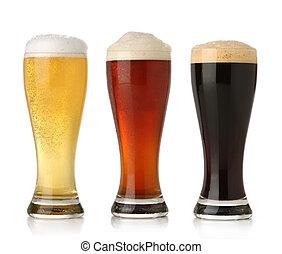 cerveza fría, tres, blanco, aislado