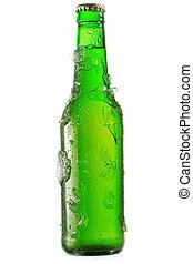 cerveza, frío, botella, hielo