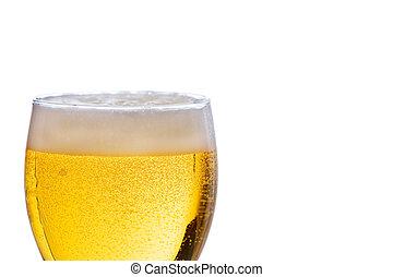 cerveza, frío, tiro, refrescante