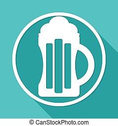 cerveza, icono, blanco, círculo, con, un, largo, sombra