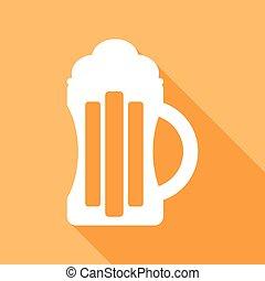 cerveza, icono, con, un, largo, sombra