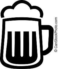 cerveza, icono, jarro de cerveza