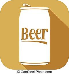 cerveza, icono, lata, plano