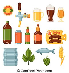 cerveza, icono, y, objetos, conjunto, para, diseño