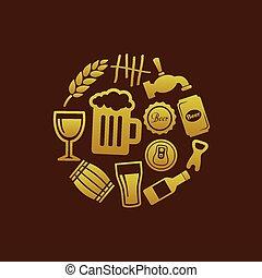cerveza, iconos, en, círculo