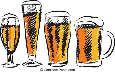 cerveza, ilustración, anteojos