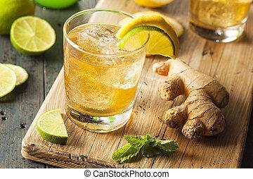 cerveza inglesa, orgánico, jengibre, soda