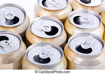 cerveza, latas, aluminio